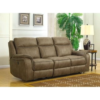 Hudson Dual Power Reclining Sofa With Memory Foam Seat Toppers, USB  Charging Ports And Power