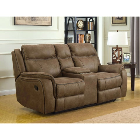 MorriSofa Hudson Dual Lay Flat Reclining Console Loveseat with Memory Foam Seat Toppers, USB Charging Ports and AC Power Outlets
