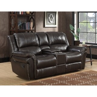 Landon Dual Lay Flat Reclining Leather Touch Loveseat with Console, Memory Foam Seat Toppers, USB Charging and AC Power Outlets