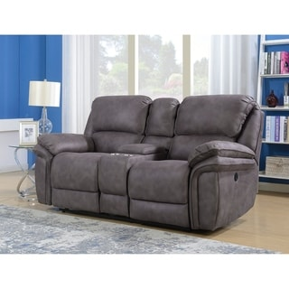 Henry Dual Power Reclining Storage Console Loveseat with Memory Foam Seat Toppers, USB Charging and AC Power Outlets