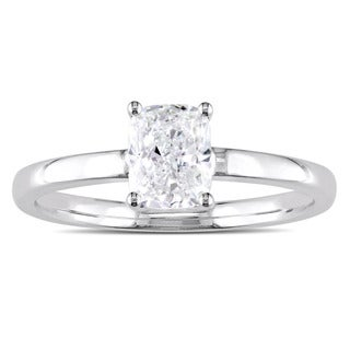 Miadora Signature Collection 14k White Gold 1ct TDW Cushion Cut Diamond Solitaire Engagement Ring
