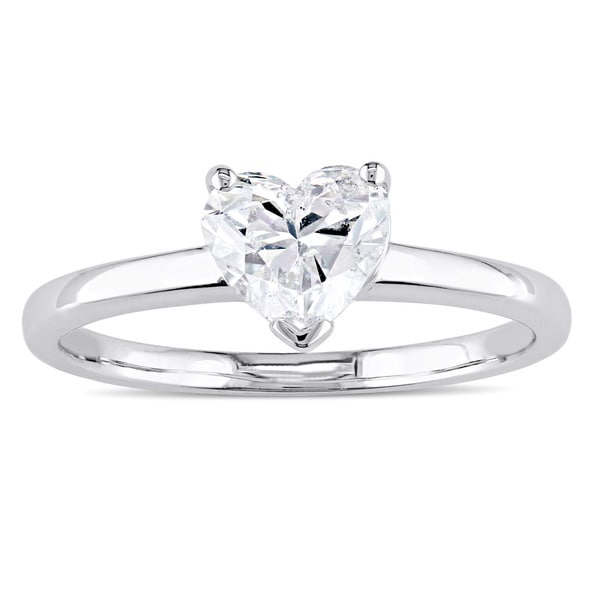 Miadora Signature Collection 14k White Gold 1ct TDW Heart-Cut Diamond Solitaire Engagement Ring. Opens flyout.
