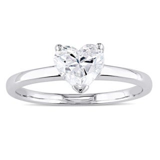 Miadora Signature Collection 14k White Gold 1ct TDW Heart-Cut Diamond Solitaire Engagement Ring