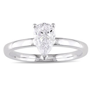 Miadora Signature Collection 14k White Gold 1ct TDW Pear-Cut Diamond Solitaire Engagement Ring