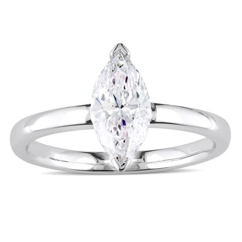 Miadora Signature Collection 14k White Gold 1ct TDW Marquise-Cut Diamond Solitaire Engagement Ring