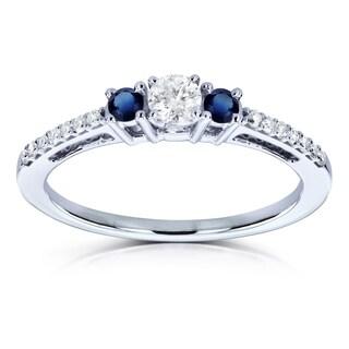 Annello by Kobelli 10k White Gold 1/4ct TGW Three Stone Diamond and Sapphire Promise Ring