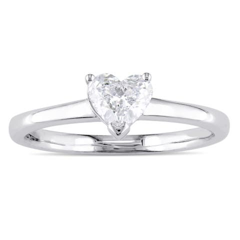 Miadora Signature Collection 14k White Gold 1/2ct TDW Heart-Cut Diamond Solitaire Engagement Ring