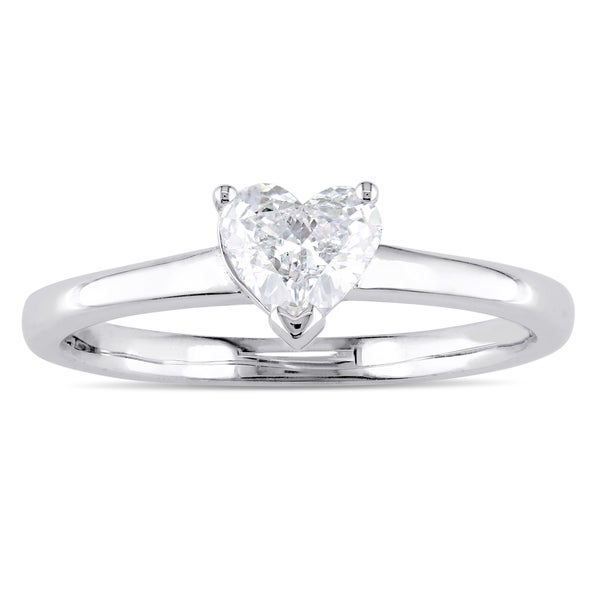 Miadora Signature Collection 14k White Gold 1/2ct TDW Heart-Cut Diamond Solitaire Engagement Ring. Opens flyout.