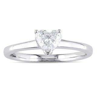 Miadora Signature Collection 14k White Gold 1 2ct TDW Heart Cut Diamond Solitaire Engagement Ring