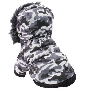 Pet Life Winter Camo Fashion Pet Parka Coat