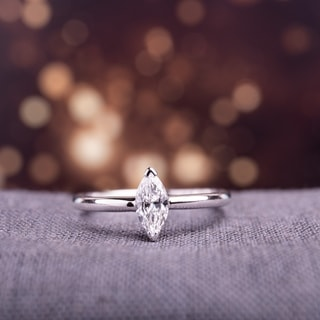 Miadora Signature Collection 14k White Gold 1/2ct TDW Marquise-Cut Diamond Solitaire Engagement Ring