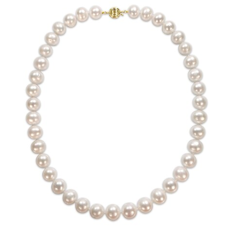 Miadora Signature Collection 14k Yellow Gold Off-Round Pearl Graduated Strand Necklace (10-12 mm) - White
