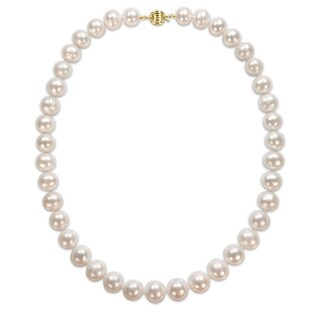 Miadora Signature Collection 14k Yellow Gold Off-Round Pearl Graduated Strand Necklace (10-12 mm)