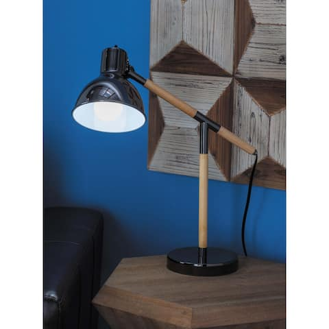 Modern Iron and Rubber Wood Task Lamp by Studio 350