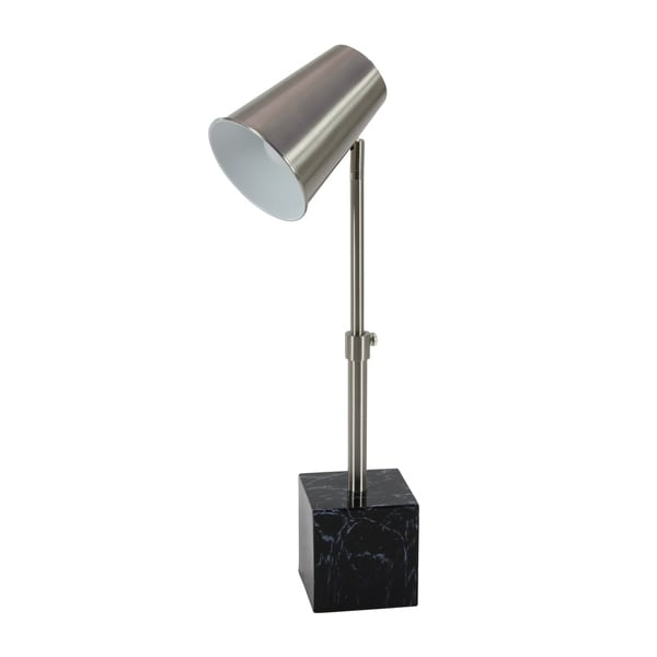 Contemporary Silver Iron Task Lamp with Marble Base by Studio 350 - N/A