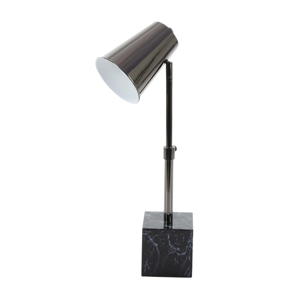 Modern Dark Gray Iron Task Lamp with Black Marble Base by Studio 350 - N/A