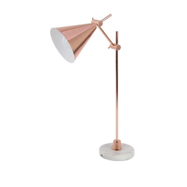 Contemporary Rose Gold Iron and Marble Task Lamp by Studio 350 - N/A