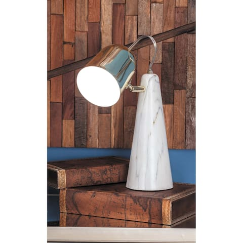 Modern White and Gold Iron and Ceramic Task Lamp by Studio 350