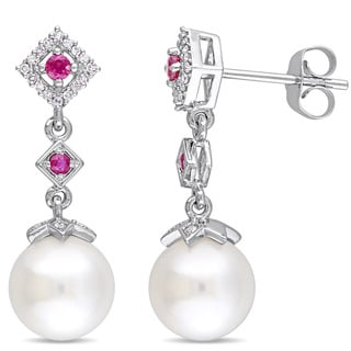 Miadora 10k White Gold Freshwater Cultured Pearl Ruby and 1/10ct TDW Diamond Graduated Drop Earrings (8.5-9 mm)