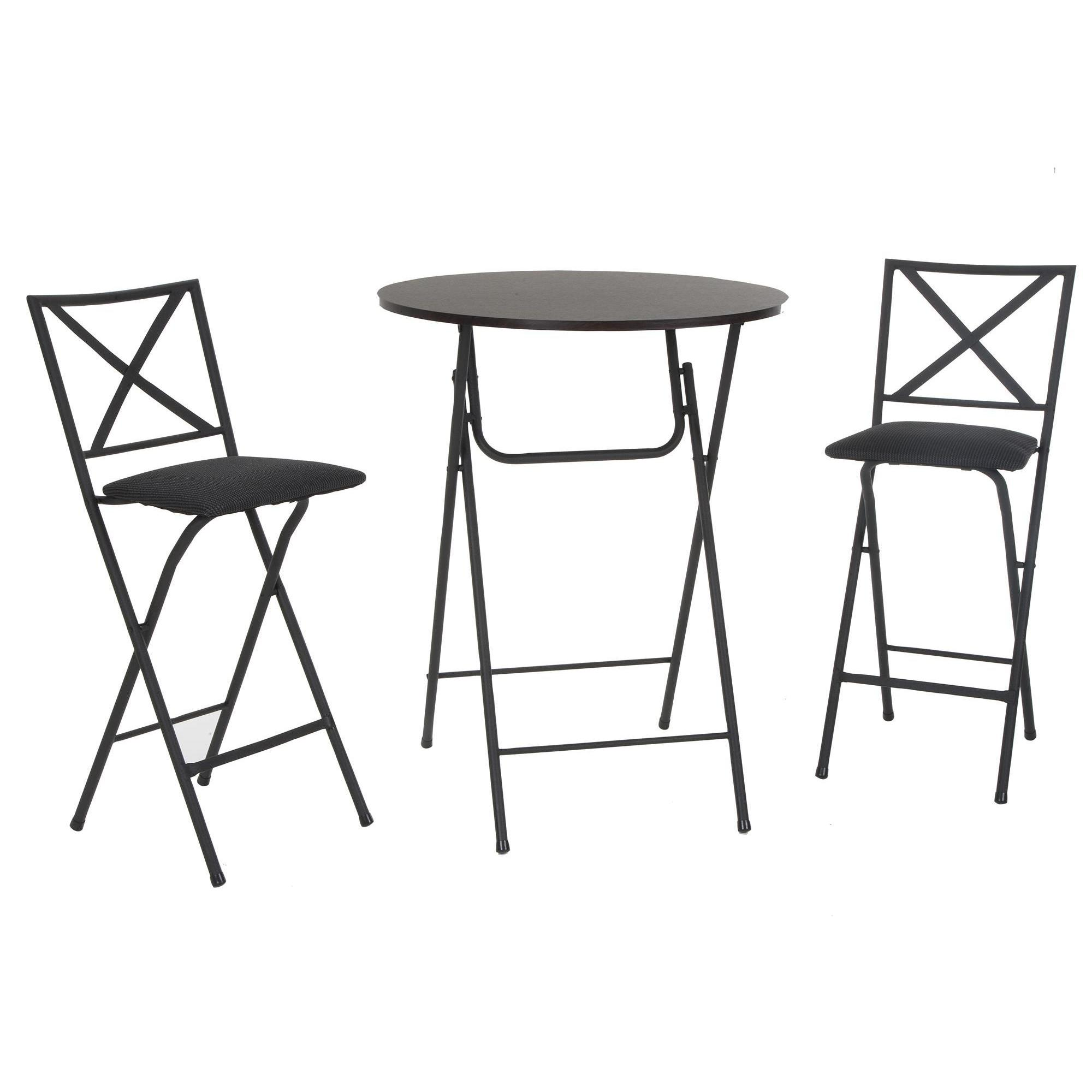 Tremendous Cosco 3 Piece Counter Height Bistro Set With Wood Grain Table And Padded Stools Gmtry Best Dining Table And Chair Ideas Images Gmtryco