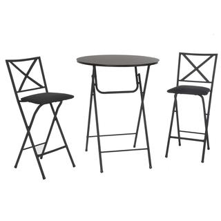 COSCO 3-Piece Counter Height Bistro Set with Wood Grain Table and Padded Stools