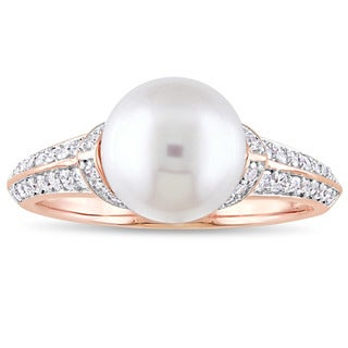 Miadora Signature Collection 10k Rose Gold Cultured Freshwater Pearl and 1/3ct TDW Diamond Ring (9-9.5 mm)