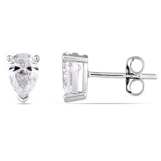 Miadora Signature Collection 14k White Gold 1ct TDW Pear-Cut Diamond Solitaire Stud Earrings
