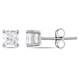 Miadora Signature Collection 14k White Gold 1ct TDW Cushion-Cut Diamond Solitaire Stud Earrings