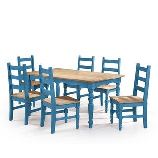 Manhattan Comfort Jay 7-Piece Solid Wood Dining Set with 6 Chairs and 1 Table