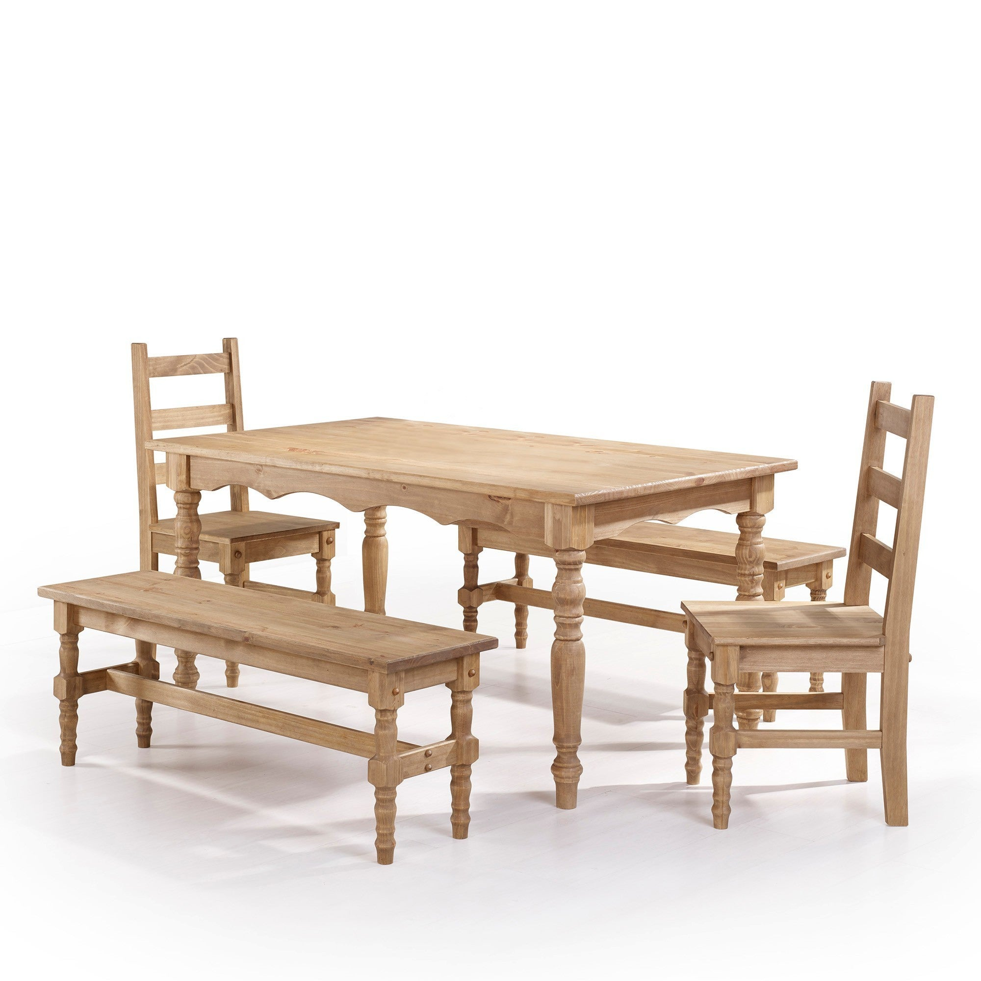 Swell Manhattan Comfort Jay 5 Piece Solid Wood Dining Set With 2 Benches 2 Chairs And 1 Table Ibusinesslaw Wood Chair Design Ideas Ibusinesslaworg