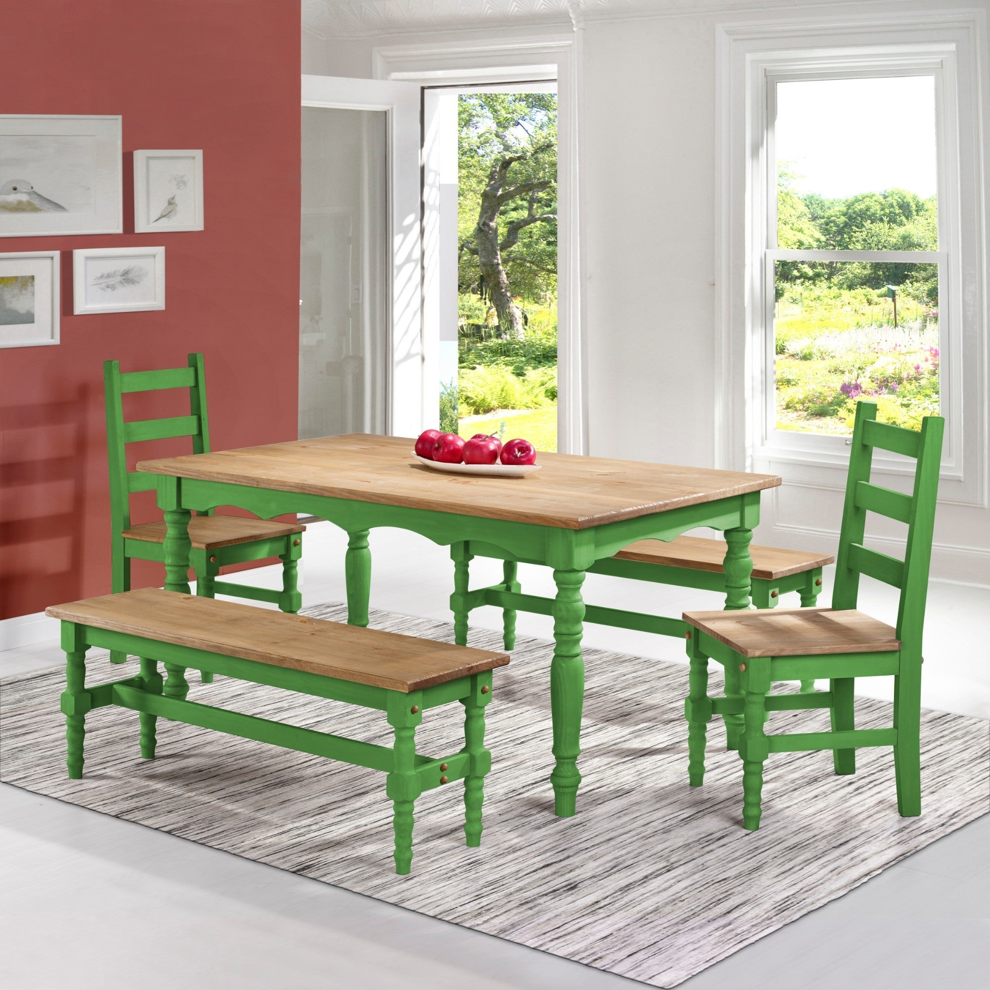 Superb Manhattan Comfort Jay 5 Piece Solid Wood Dining Set With 2 Benches 2 Chairs And 1 Table Gmtry Best Dining Table And Chair Ideas Images Gmtryco