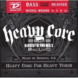 Dunlop Heavy Core Electric Heavier Bass Strings - DBHCN55115 - .055-.115