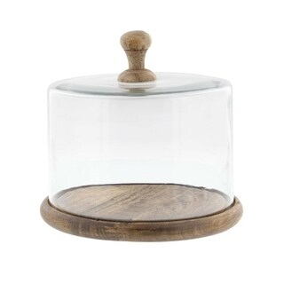 Studio 350 Glass Wood Cloche 8 inches wide, 6 inches high