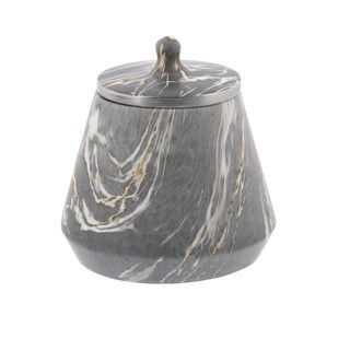 Studio 350 Ceramic Marble Oval Jar 8 inches wide, 8 inches high