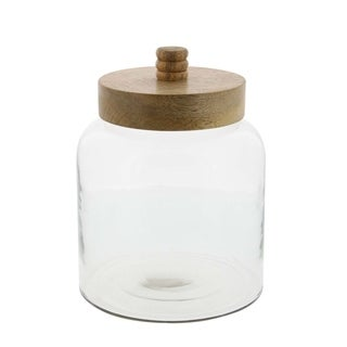 Studio 350 Glass Wood Jar 7 inches wide, 10 inches high