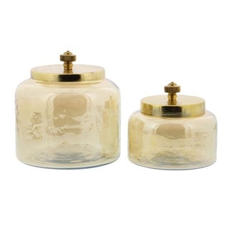 Studio 350 Glass Metal Jar Set of 2, 4 inches, 5 inches high