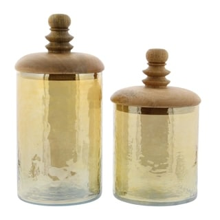 Studio 350 Glass Wood Jar Set of 2, 8 inches, 11 inches high