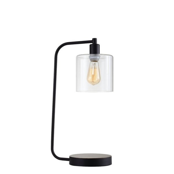 "Q-Max 31205 Industrial Lantern Style 21""H Table Lamp, Black"