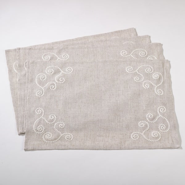 Embroidered Swirl Design Linen Blend Placemat - Set of 4