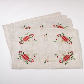 Embroidered Ornament Design Christmas Linen Blend Placemat - Set of 4