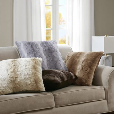 Madison Park Marselle Luxurious Faux Fur 25x25 Inch Euro Pillow 4 Color Options