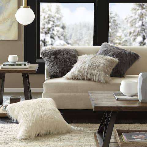 Madison Park Adelaide Premium Luxury Faux Fur Square Throw Pillow