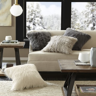 Madison Park Adelaide Premium Luxury Faux Fur Square Throw Pillow - Thumbnail 0