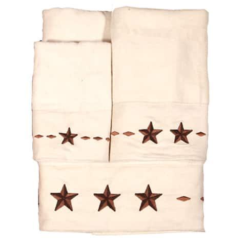 Hiend Accents Embroidered Star Towel Set 3-Piece Cream