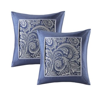 Madison Park Whitman Navy Jacquard Square Pillow Pair (Set of 2)