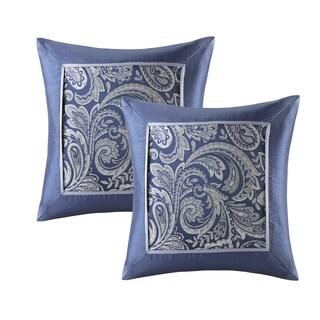 Lovely Madison Park Whitman Navy Jacquard Square Pillow Pair (Set Of 2)