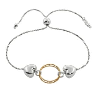 Eternally Haute Italian Solid Sterling Silver Double Heart Slider Bracelet