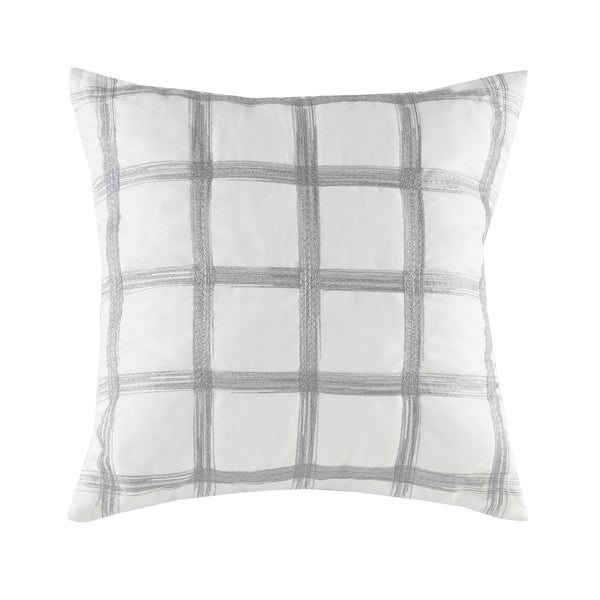INK+IVY Gregory White/ Grey Cotton Embroidered 20 x 20-inch Square Throw Pillow with Hidden Zipper Closure. Opens flyout.