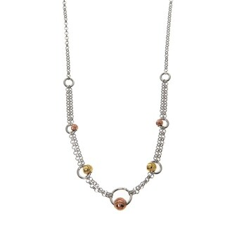 Eternally Haute Italian Solid Sterling Silver Diamond Cut Circle Beads Necklace