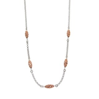 Eternally Haute Italian Solid Sterling Silver Diamond Cut Oval Beads Necklace